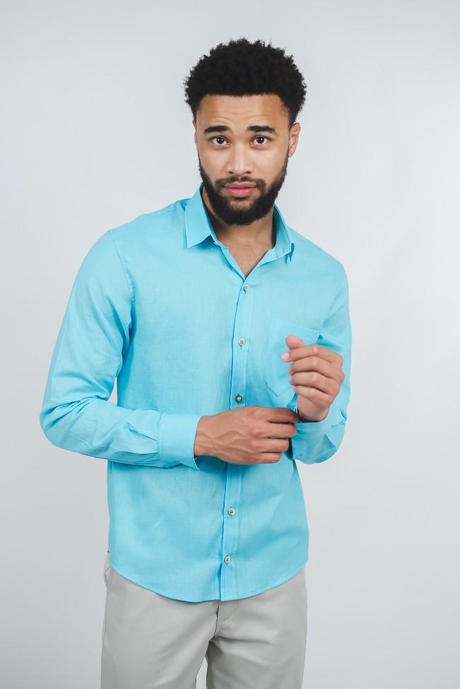 camisa linho masculina azul manga longa com bolso