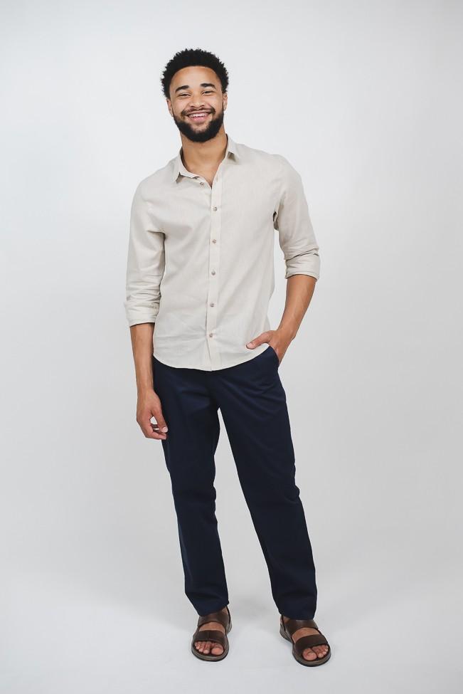 camisa   linho masculina linho masculina bege manga longa sem bolso