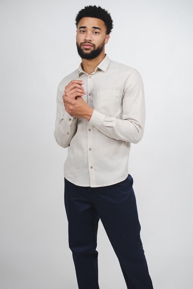 camisa linho masculina bege manga longa com bolso