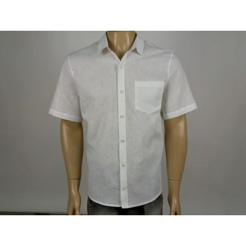 Camisa Linho Masculina Branca Manga Curta Com Bolso