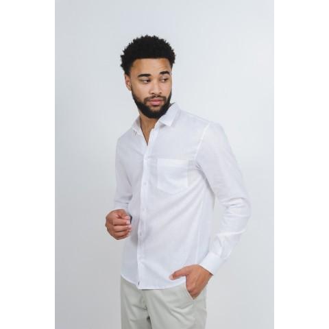 Camisa Linho Masculina Branca Manga Longa com Bolso