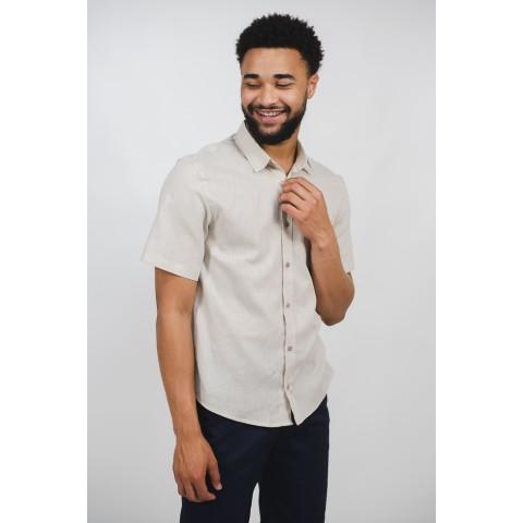 Camisa Linho Masculina Bege Manga Curta Sem Bolso