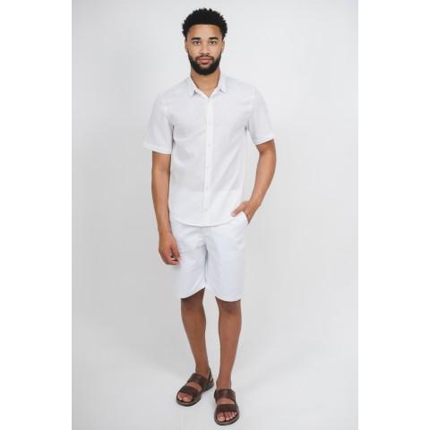Camisa Linho Masculina Branca Manga Curta Sem Bolso