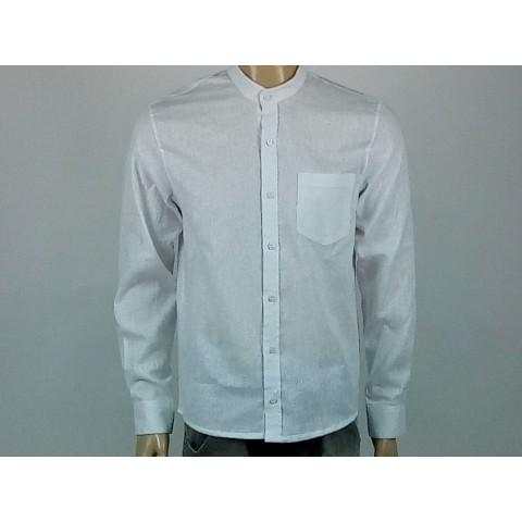 camisa masculina linho branca gola de padre manga longa com bolso