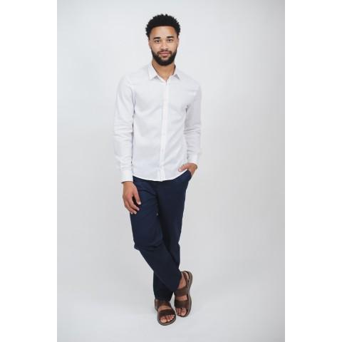 camisa linho masculina branca manga longa sem bolso