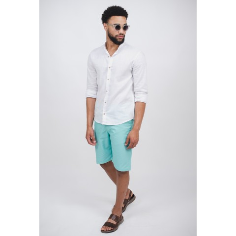 camisa masculina linho branca gola de padre manga longa sem bolso