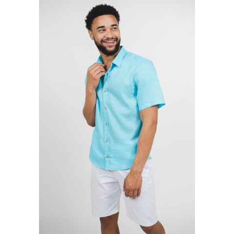 camisa linho masculina azul manga curta sem bolso